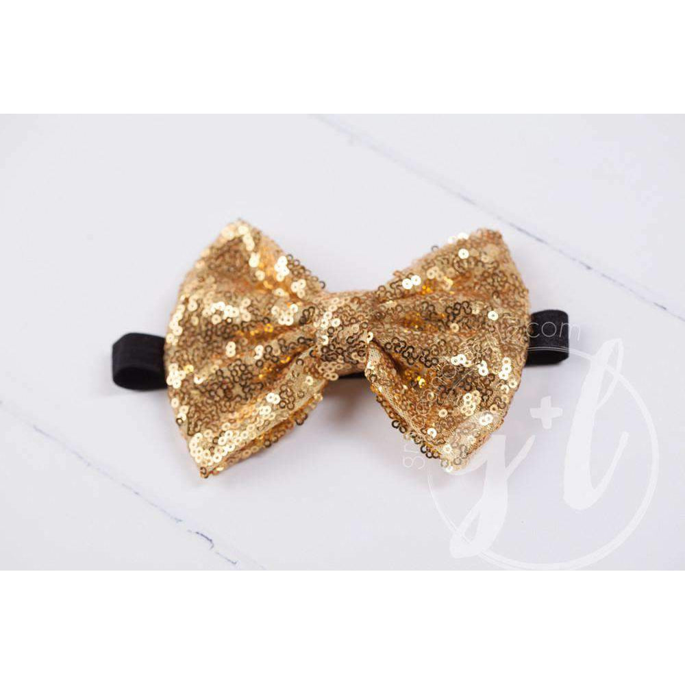 Two-in-One Sequined Bow Headband & Belt, Gold Bow with black band
