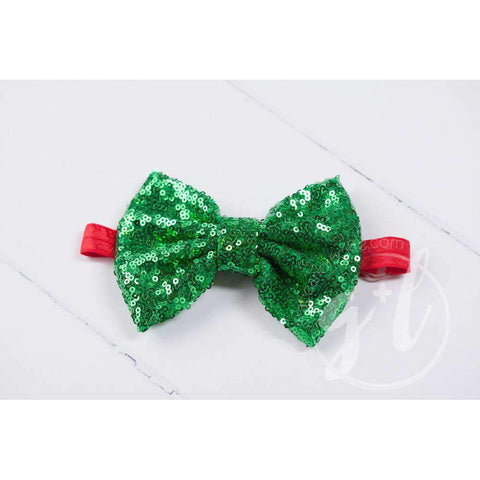 Two-in-One Sequined Bow Headband & Belt, Christmas Green Bow on Red Band