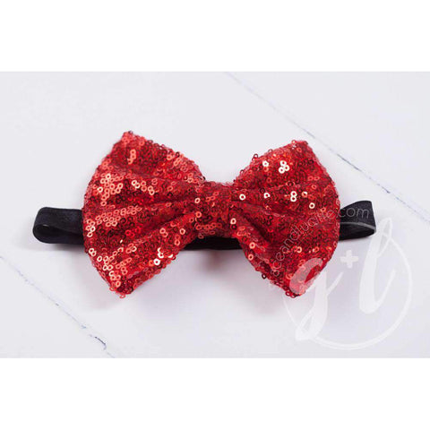 Two-in-One Sequined Bow Headband & Belt, Red Bow on Black Band