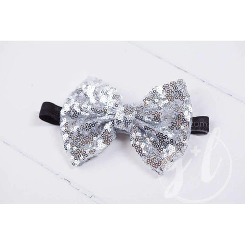 Two-in-One Sequined Bow Headband & Belt, Silver Bow on Black Band