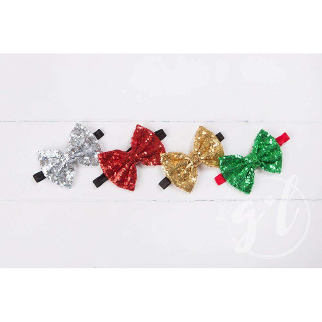 Two-in-One Sequined Bow Headband & Belt, Red Bow on Black Band - Grace and Lucille