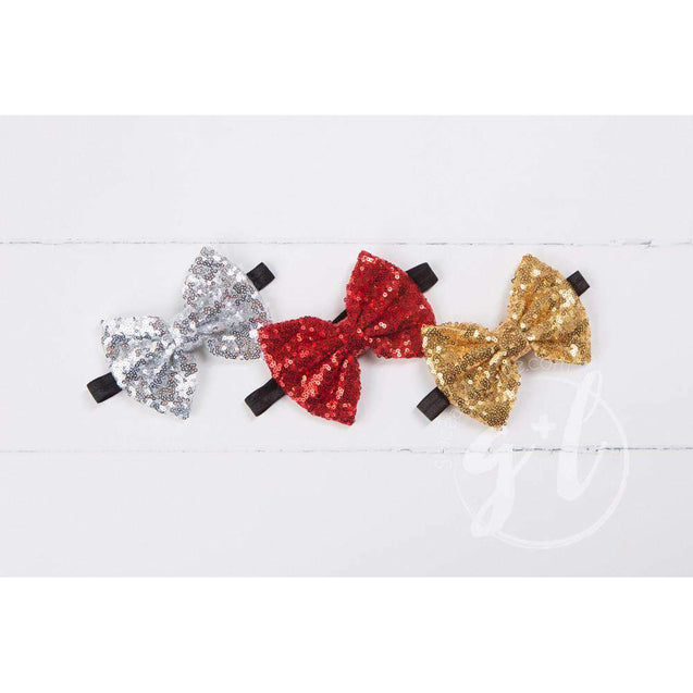 Two-in-One Sequined Bow Headband & Belt, Silver Bow on Black Band - Grace and Lucille