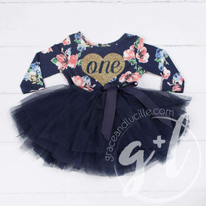 "First Birthday Dress Heart of Gold with ""ONE"" on Navy Floral Long Sleeves - Grace and Lucille"