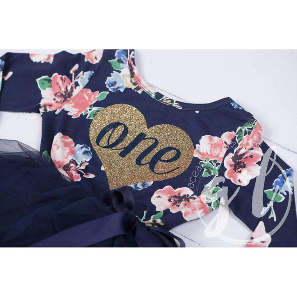 "1st Birthday Dress Heart of Gold ""ONE"" Navy Floral Long Sleeve Dress Combo with Pink Party Hat - Grace and Lucille"