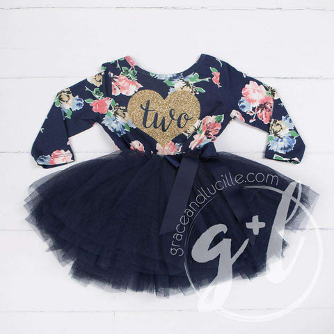 Second Birthday Dress Heart of Gold with