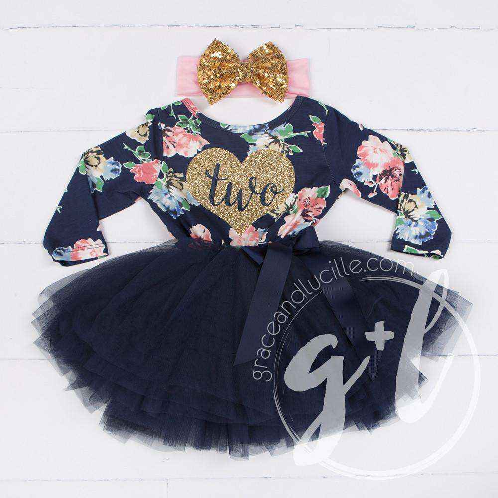 "2nd Birthday Outfit Heart of Gold ""TWO"" Navy Floral Long Sleeve Tutu Dress & Gold Bow Headband"