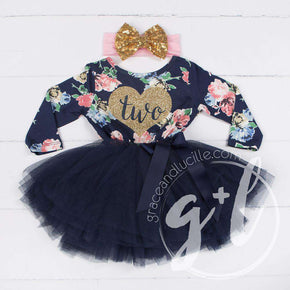 "2nd Birthday Outfit Heart of Gold ""TWO"" Navy Floral Long Sleeve Tutu Dress & Gold Bow Headband - Grace and Lucille"
