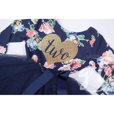Birthday Dress Heart of Gold with her AGE on Navy Floral Long Sleeves