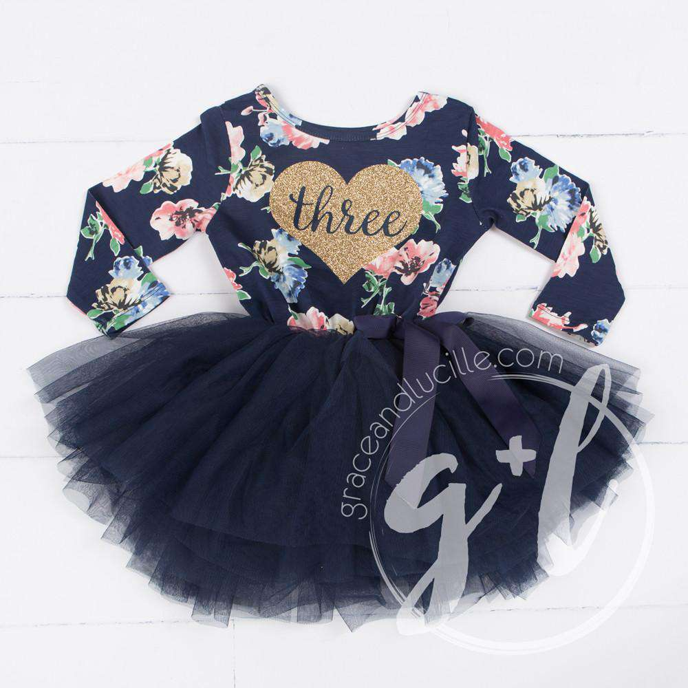 "3rd Birthday Dress Heart of Gold with ""THREE"" on Navy Floral Long Sleeves"