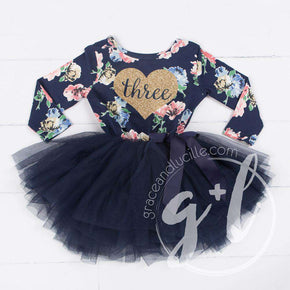 "3rd Birthday Dress Heart of Gold with ""THREE"" on Navy Floral Long Sleeves - Grace and Lucille"