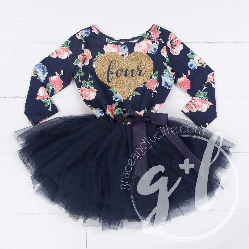 "Fourth Birthday Dress Heart of Gold with ""FOUR"" on Navy Floral Long Sleeves"