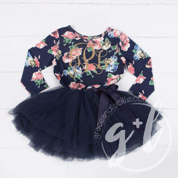 "Fourth Birthday Dress Heart of Gold with ""FOUR"" on Navy Floral Long Sleeves - Grace and Lucille"