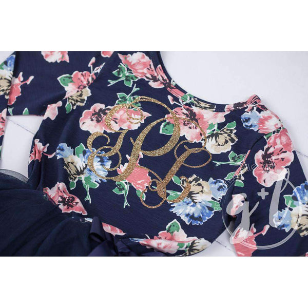 Grand Monogram Dress with Gold Initials on Navy Floral Long Sleeves - Grace and Lucille