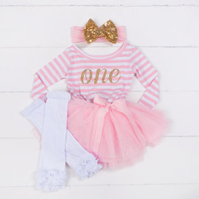 "1st Birthday Dress Gold Script ""ONE"" Pink Stripe Long Sleeve Dress Combo - Grace and Lucille"