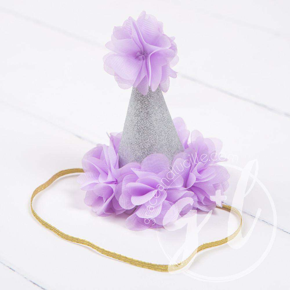 Princess Party Hat, Sparkly Silver and Purple