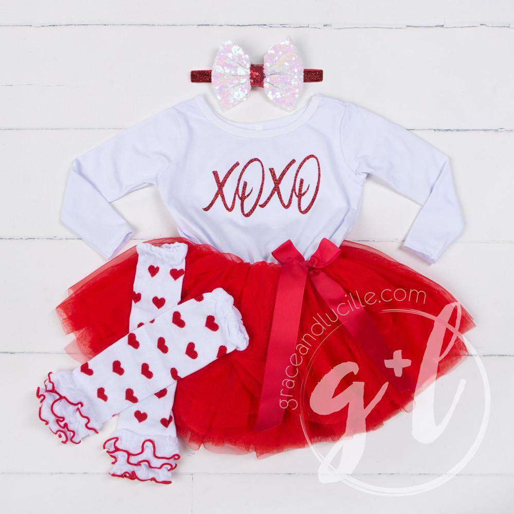 Hugs & Kisses Valentine's Day Dress Combo Red Tutu, White Long Sleeves - Grace and Lucille