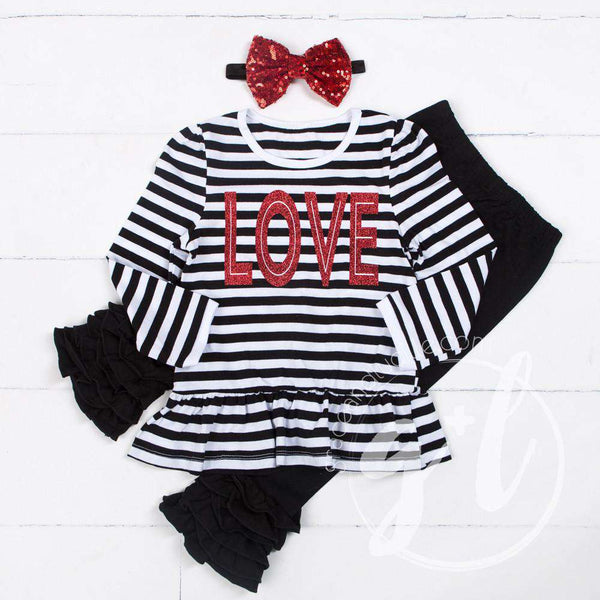 All My LOVE Ruffled Hem Striped Top, Black Ruffled Hem Leggings Outfit & Red Bow Headband - Grace and Lucille