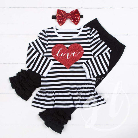 Heart Full of LOVE Ruffled Hem Striped Top, Black Ruffled Hem Leggings Outfit & Red Bow Headband