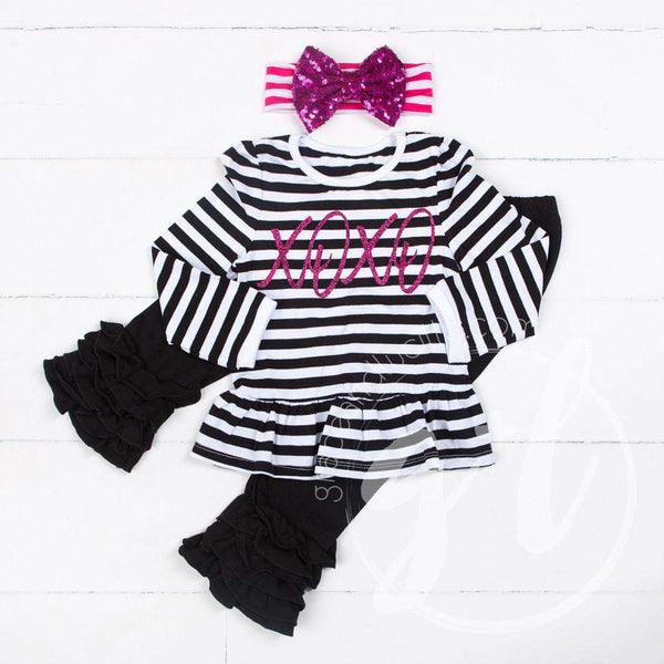 Hugs & Kisses Ruffle Hem Peplum Top & Leggings Outfit , Black Stripe, Black Ruffled Hem Leggings - Grace and Lucille