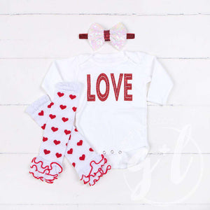 "All My ""LOVE"" Onesie Combo Outfit, Heart Leg Warmers, White Bow on Red Headband - Grace and Lucille"