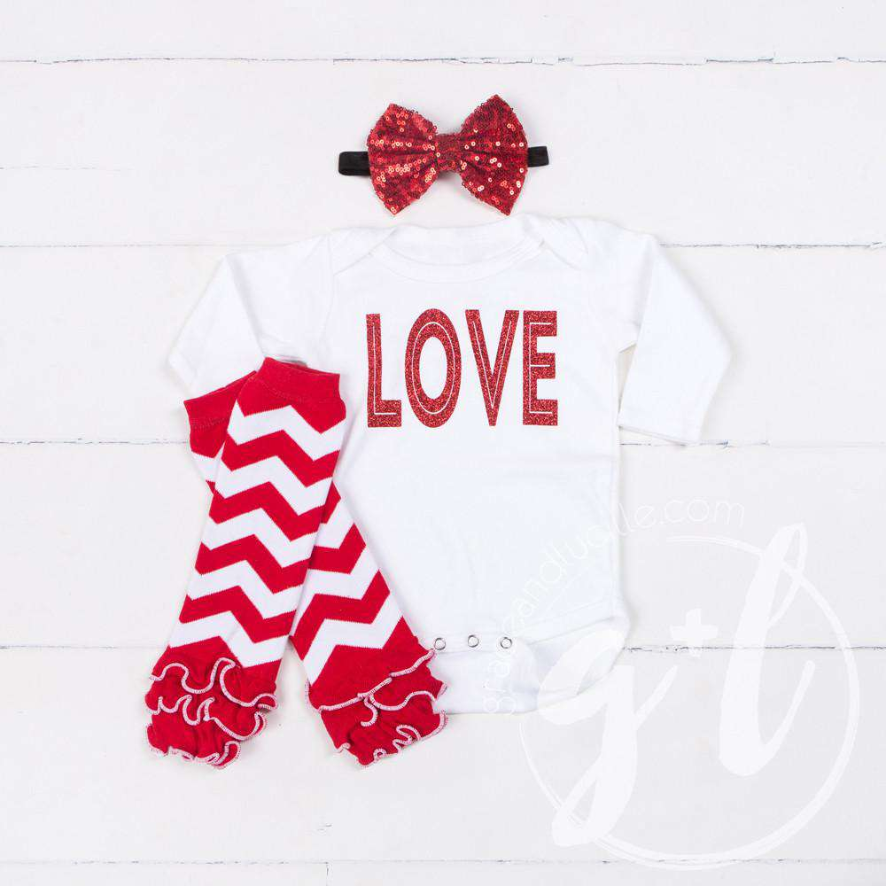 "All My ""LOVE"" Onesie Combo Outfit, Red Chevron Ruffled Leg Warmers - Grace and Lucille"