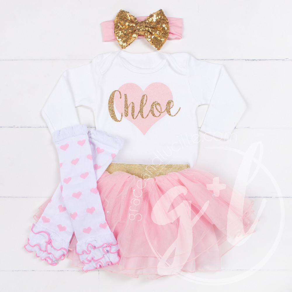 "My Sweet Heart ""NAME"" Onesie Pink & Gold Combo Outfit, Pink Tutu, Pink Heart Leg Warmers"