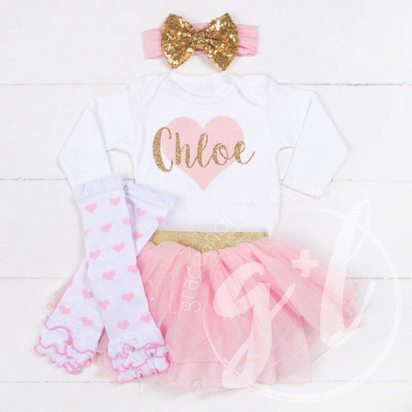 "My Sweet Heart ""NAME"" Onesie Pink & Gold Combo Outfit, Pink Tutu, Pink Heart Leg Warmers - Grace and Lucille"