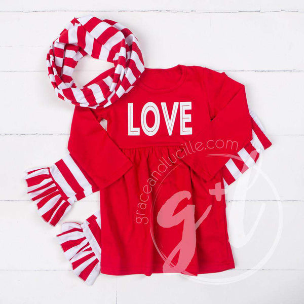 All My LOVE Red Empire Waist Tunic Dress, Striped Scarf & Leggings Outfit - Grace and Lucille