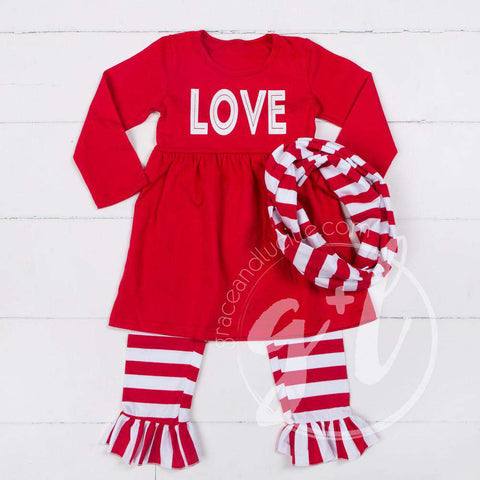 All My LOVE Red Empire Waist Tunic Dress, Striped Scarf & Leggings Outfit