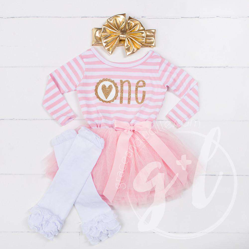 "Scalloped Heart Birthday Dress ""ONE"" Pink Stripe Long Sleeve, White Leg Warmers & Gold Headband - Grace and Lucille"