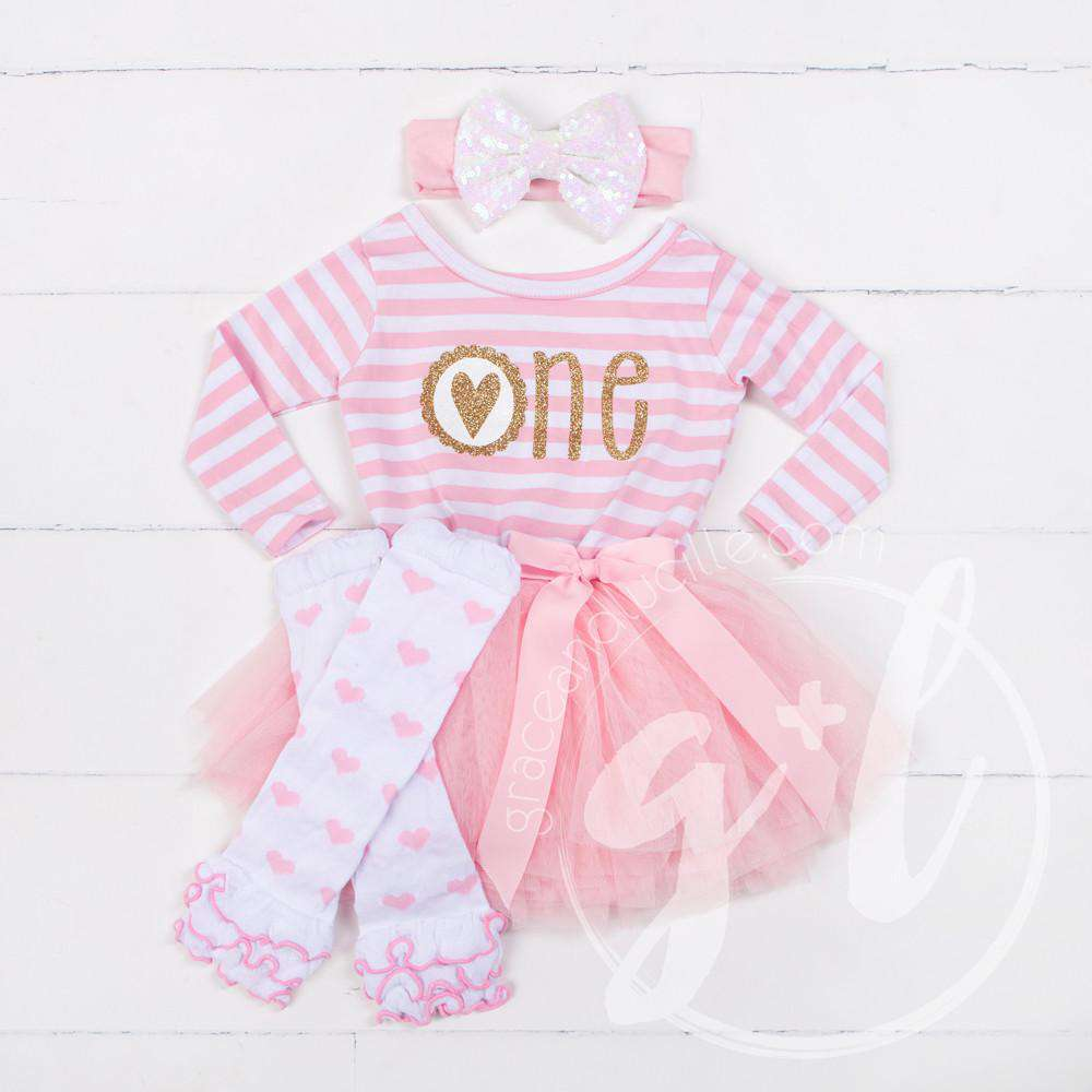 "Scalloped Heart Birthday Dress Outfit ""ONE"" Pink Striped Long Sleeves, Ruffled Pink Heart Leg Warmer"