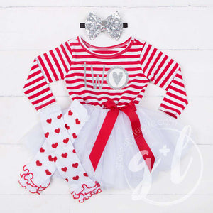"Scalloped Heart Birthday Dress Outfit ""TWO"" Red Striped Long Sleeves - Grace and Lucille"