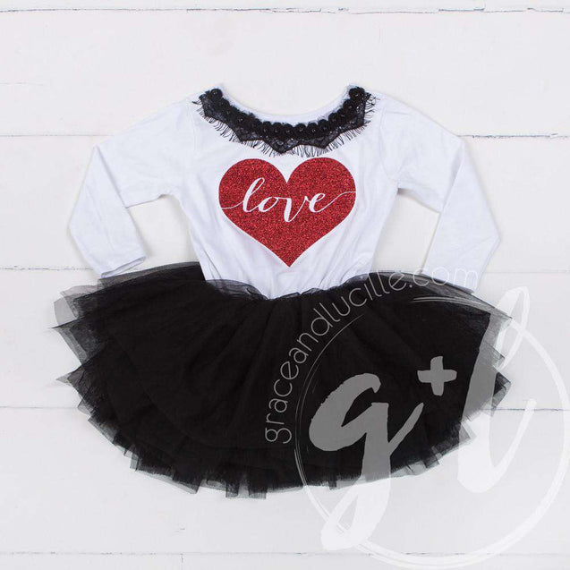 Heart Full of LOVE Bejeweled Black & White Dress Combo, Chevron Leg Warmers & White/Red Bow Headband - Grace and Lucille