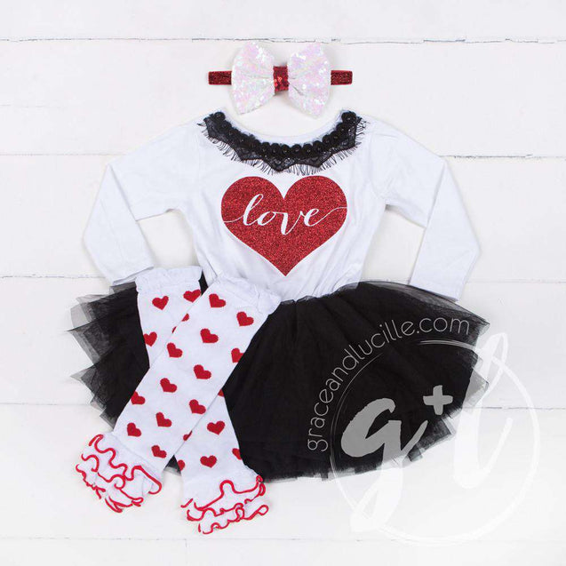 Heart Full of LOVE Bejeweled Black & White Dress Combo, Heart Leg Warmers & White/Red Bow Headband - Grace and Lucille
