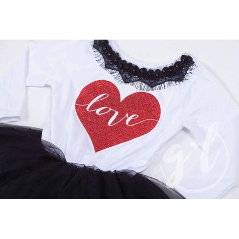 Heart Full of LOVE Bejeweled Black & White Dress Combo, Heart Leg Warmers & White/Red Bow Headband