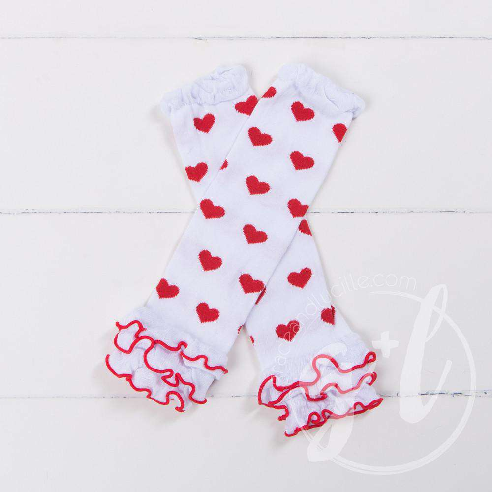 Red & White Hearts Ruffled Hem Leg Warmers - Grace and Lucille