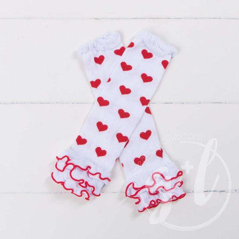 Red & White Hearts Ruffled Hem Leg Warmers