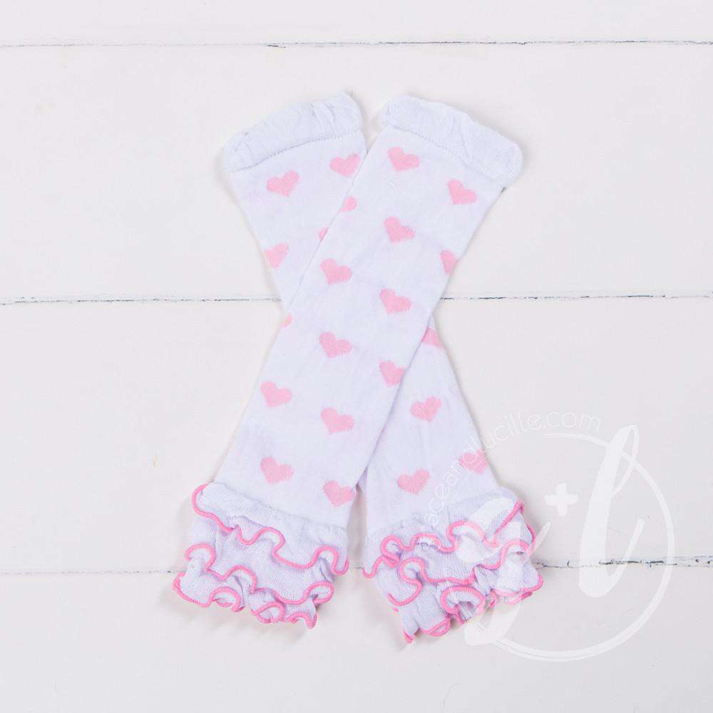 Pink & White Hearts Ruffled Hem Leg Warmers - Grace and Lucille