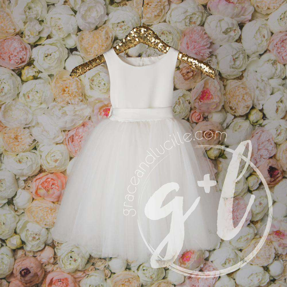 Angelic Flower Girl Dress, Pearl White Matte Satin Gown, Heart Cutout Back - Grace and Lucille
