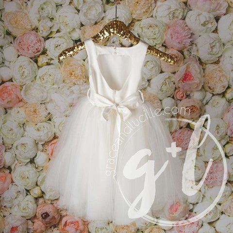 Angelic Flower Girl Dress, Pearl White Matte Satin Gown, Heart Cutout Back