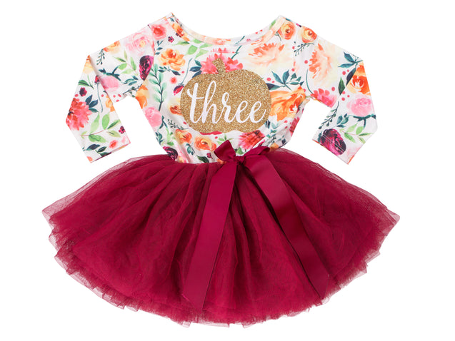 3rd Birthday Dress - Floral Heart (Long Sleeve)