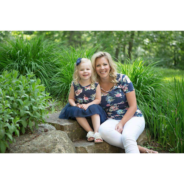 """Mommy & Me"" Ladies Navy Floral Cross Neck Tee Shirt - Grace and Lucille"