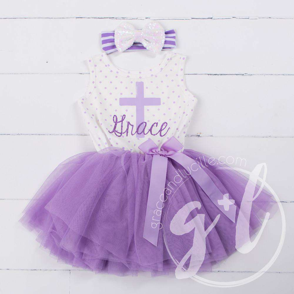 "Cross Outfit with Cross & ""Her Name"" on Purple Polka Dot Sleeveless Dress"
