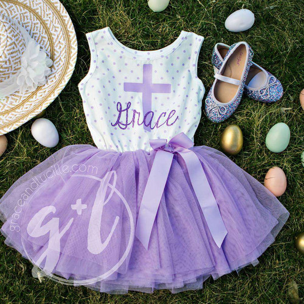 "Cross Outfit with Cross & ""Her Name"" on Purple Polka Dot Sleeveless Dress - Grace and Lucille"