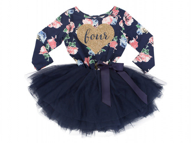 Navy Floral Heart of Gold (1st Birthday Dress - 1st Birthday Outfit)
