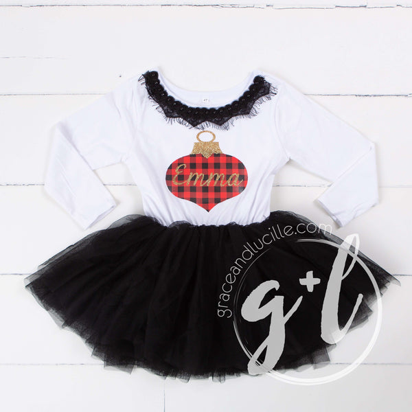 Buffalo check ornament monogrammed name Dress Black Tutu, White Long Sleeves - Grace and Lucille