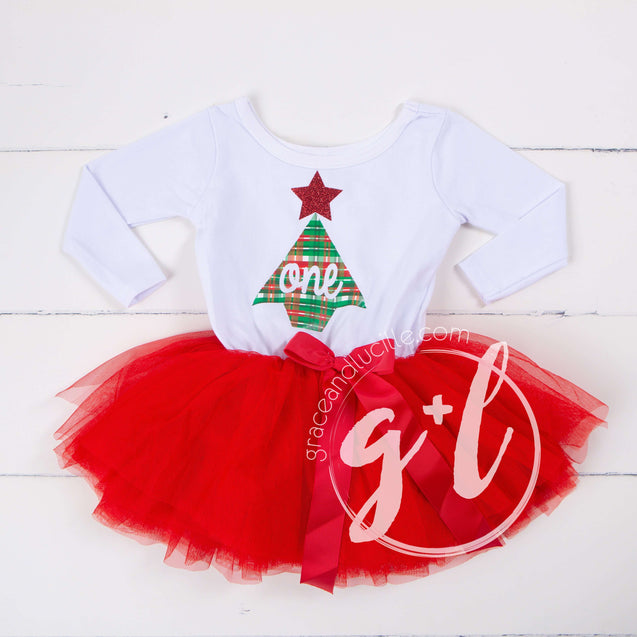 First birthday Christmas Dress Red Tutu, White Long Sleeves - Grace and Lucille