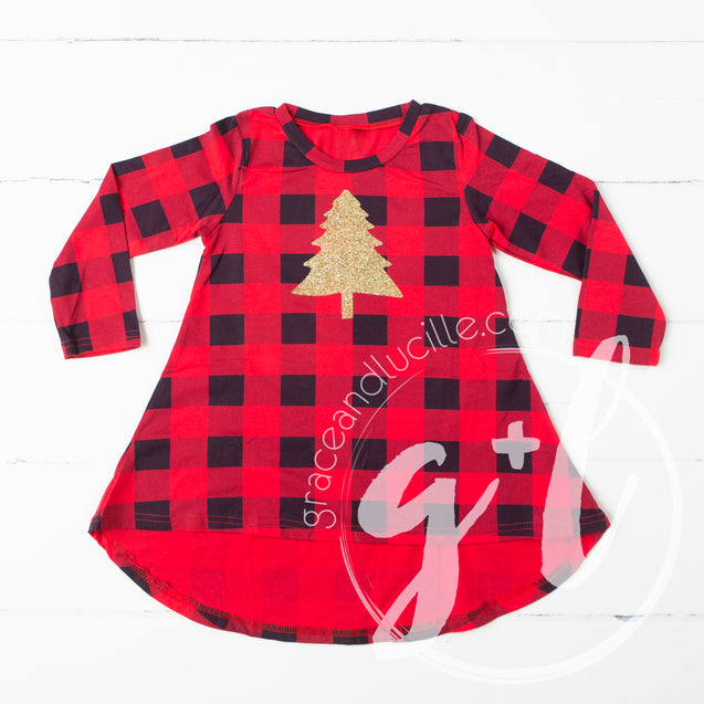 Buffalo Check Christmas Dress- Christmas Tree - Grace and Lucille