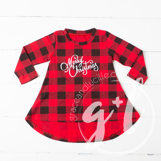 Buffalo Check Christmas Dress- Merry Christmas - Grace and Lucille