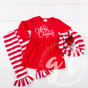 Merry Christmas Red Empire Waist Tunic Dress, Striped Scarf & Leggings Outfit - Grace and Lucille